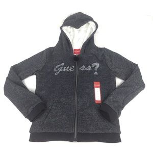 GUESS Black Fur Lined Hoodie Size 12